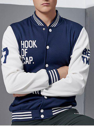 Buy Letter Print Color Block Baseball Jacket BLUE AND WHITE 4XL