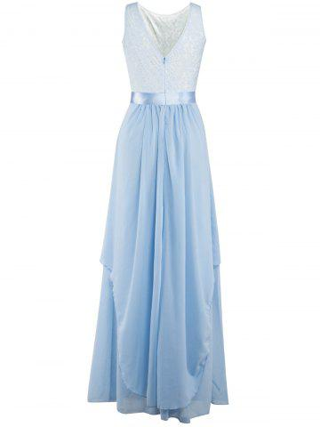 Chiffon Long Bridesmaid Wedding Formal Prom Maxi Dress - Light Blue - Xl