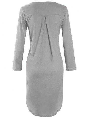 Buy Asymmetrical V Neck Casual Knee Length Going Out Dress - XL GRAY Mobile