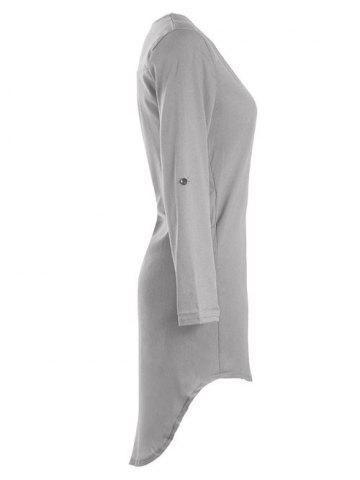Store Asymmetrical V Neck Casual Knee Length Going Out Dress - XL GRAY Mobile