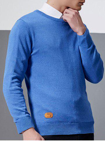 New Crew Neck Patch Design Pullover Knitwear