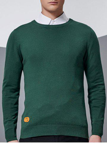 Unique Crew Neck Patch Design Pullover Knitwear - 3XL GREEN Mobile
