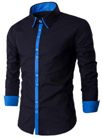 Simple boutonnage à manches longues Spliced ​​design shirt