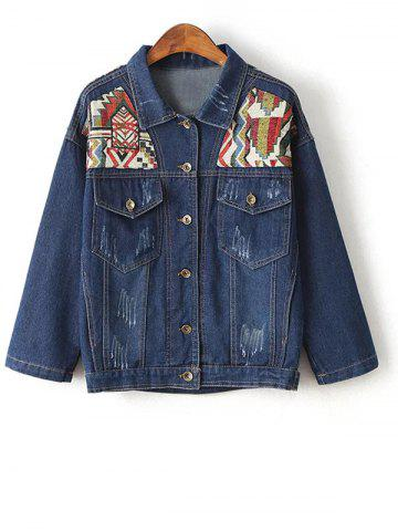 Outfits Embroidered Yoke Jeans Jacket
