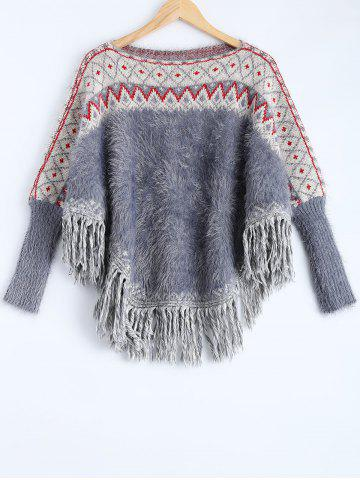 Chic Fringe Fuzzy Batwing Sweater