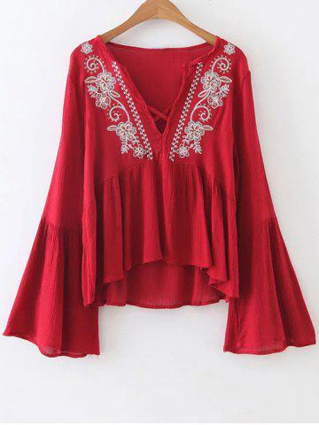 Affordable V Neck Bell Sleeve Flowy Top