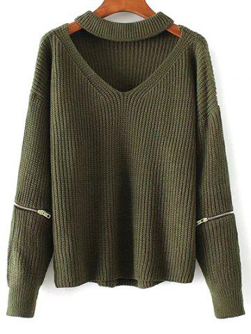 Online Chunky Choker Sweater GREEN ONE SIZE