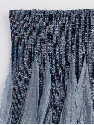 Latest Vintage Smocked Embroidered Skirt - ONE SIZE BLUE GRAY Mobile