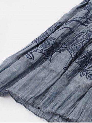 New Vintage Smocked Embroidered Skirt - ONE SIZE BLUE GRAY Mobile