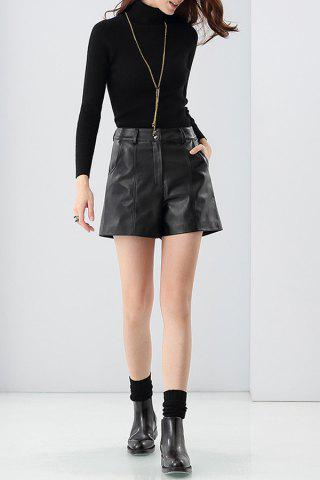 Zipper Fly Short en cuir
