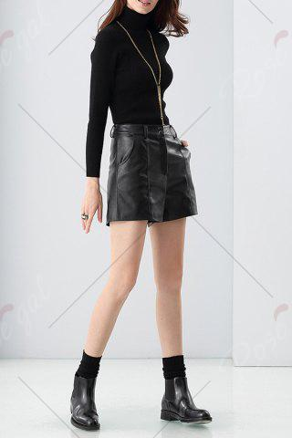 Chic Faux Leather Shorts - M BLACK Mobile