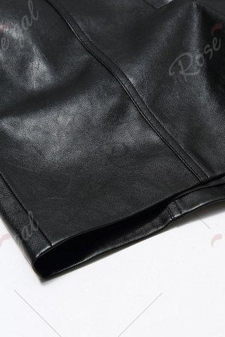 Affordable Faux Leather Shorts - M BLACK Mobile