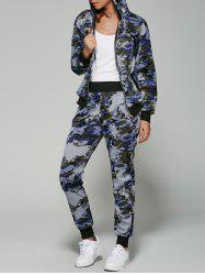 Camo Zip Up Hoodie with Running Jogger Pants - NAVY BLUE