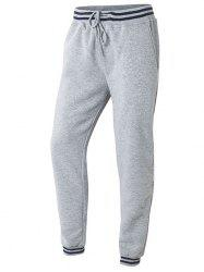 Lace-Up Stripes Printed Beem Feet Jogger Pants - GRAY L