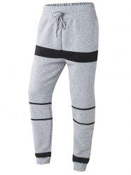 Striped Color Splicing Beam Feet Drawstring Jogger Pants - Серый S