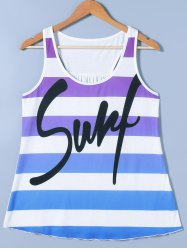 Ombre Striped Funny Tank Top -