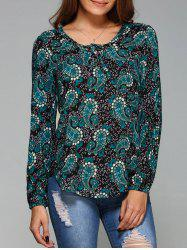 Paisley Arc-Shaped Hem Blouse -