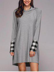 Plaid Patchwork Sleeve Hooded Dress -
