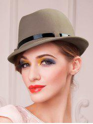 Embellished Flanging Wool Fedora Hat