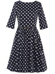 Belted Polka Dot A-Line Dress