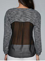 Heathered Sheer Back Blouse -