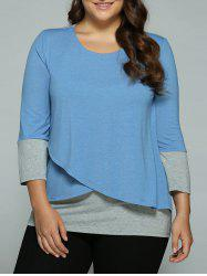 Plus Size Overlay Spliced Blouse - BLUE+GRAY