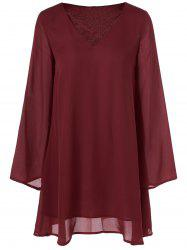 Cut Out Flare Sleeve Smock Dress -