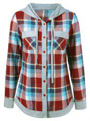 Single Breasted Double Pockets Plaid Hoodie -