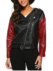 Inclined Zippers Buckle Belt Jacket -