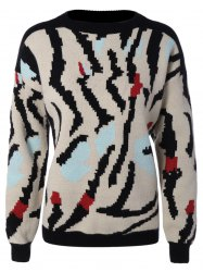 Jacquard Knit Pullover Sweater -