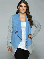 Plus Size Spliced Asymmetrical Cardigan - BLUE+GRAY