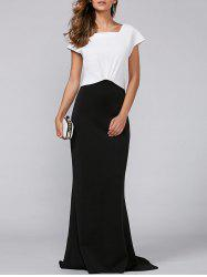Color Patchwork High-Waisted Maxi Dress -