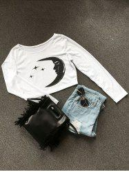 Long Sleeve Moon Star Crop Top -