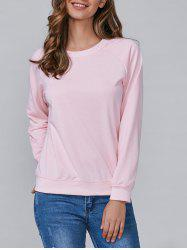 Loose-Fitting Long Sleeves Sweatshirt - SHALLOW PINK M