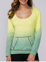 Ombre Rhinestone Design Hoodie - YELLOW/GREEN XL