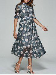 Floral Print Tea Length Chiffon Dress -