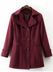 Faux Pocket Design Double Breasted Trench Coat -