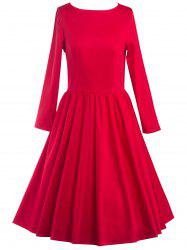 Long Sleeve Fit and Flare Dress - RED XL