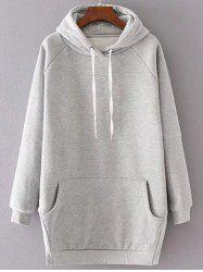 Side Slit Fleece Drawstring Hoodie -