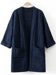 3/4 Sleeves Pocket Design Textured Long Cardigan -