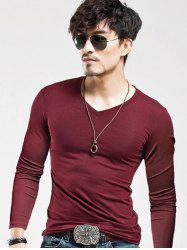 Long Sleeves V-Neck Plain Slim Fit T-Shirt - WINE RED 2XL