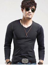 Long Sleeves V-Neck Plain Slim Fit T-Shirt
