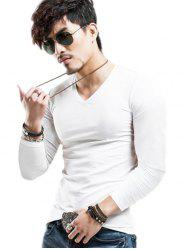 Long Sleeves V-Neck Plain Slim Fit T-Shirt - WHITE