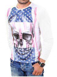Skull 3D American Flag Print Long Sleeve T-Shirt - WHITE 2XL
