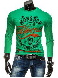 Long Sleeve Crew Neck Graphic T Shirt - GREEN
