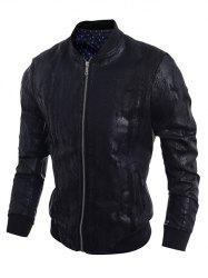Stand Collar Crack Design PU-Leather Zip-Up Bomber Jacket - BLACK