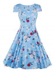 Cap Sleeve Vintage Floral Print Swing Fit and Flare Dress - BLUE 2XL