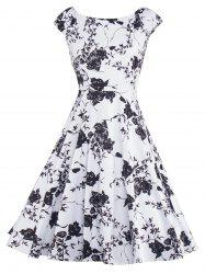 Floral Print Vintage Fit and Flare Dress