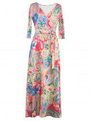 Wrap Patterned Maxi Dress with Sleeves - YELLOW XL