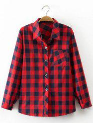 Checkered Print Pocket Design Shirt